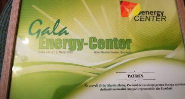 Gala Energy-Center: Dl Martin Moise, PrimVicepreședinte PATRES, a primit Premiul de excelență pentru întreaga activitate dedicată sectorului energiei regenerabile din România